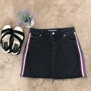 Topshop Moto Side Stripe Black Frayed Denim Skirt